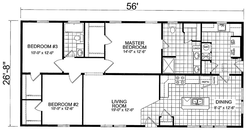Single wide mobile home floor plans 3 bedroom for 3 bedroom double wide floor plans