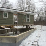 Modular home being set on customers foundation